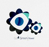 Green eco unusual background concept - llustration of flowers poster