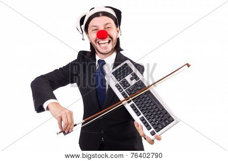 Funny clown businessman isolated on the white background