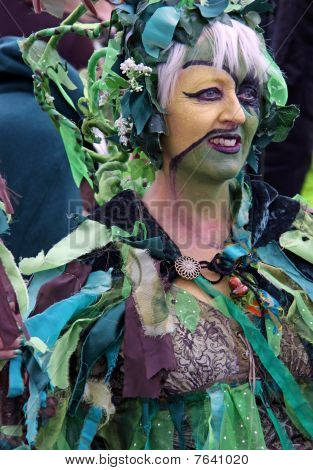 A woman at Jack In The Green Festival
