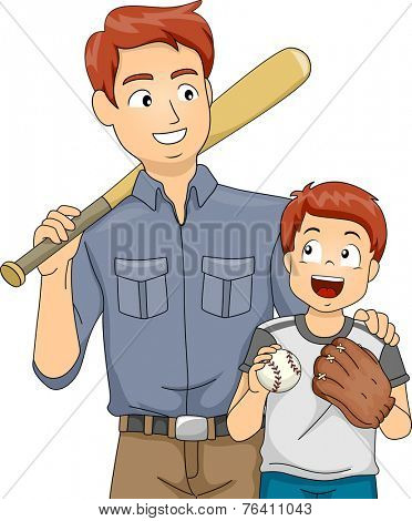 Illustration Featuring a Father and Son Bonding Over Baseball
