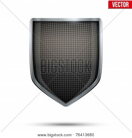 Bright shield in the fencing helmet inside. Vector.