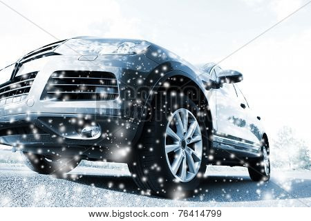 Car on road and snow