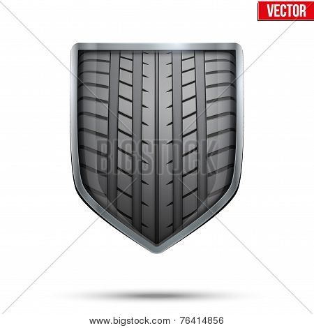 Bright shield in the racing tire inside. Vector.
