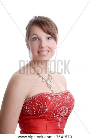 Portait Of Beautiful Smiling Woman In Evening Dress