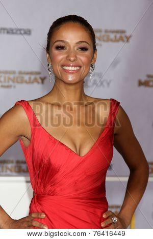 LOS ANGELES - NOV 17:  Meta Golding at the The Hunger Games: Mockingjay Part 1 Premiere at the Nokia Theater on November 17, 2014 in Los Angeles, CA