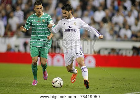 BARCELONA - OCT, 20: Isco Alarcon of Real Madrid during the Spanish Kings Cup match against UE Cornella at the Estadi Cornella on October 29, 2014 in Barcelona, Spain