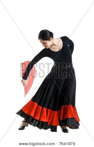 Woman Dancer In A Black Spanish Dress