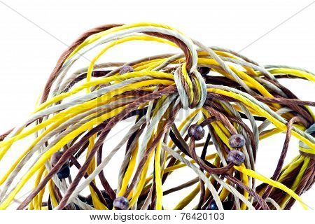 Close Up Of Tangled Of Rope Twist Together Into A Confused Mass On White Background