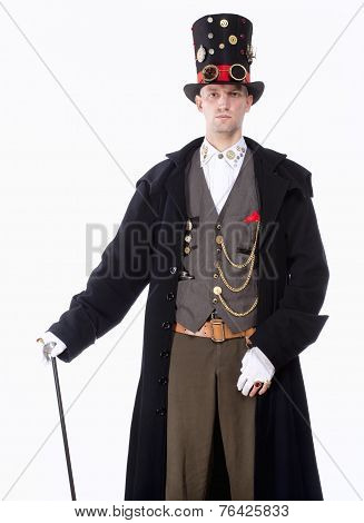 Magician With High Hat, Long Coat And Clock Parts Details
