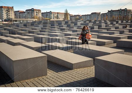 BERLIN, GERMANY - NOV 17, 2014: Memorial to the Murdered Jews of Europe, designed by architect Peter Eisenman and engineer Buro Happold, site 19,000 m2 covered with 2,711 concrete slabs.