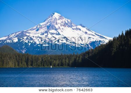 High Mountain and lake in a foreground