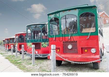 Parked Tourist Buses