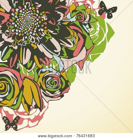 vector postcard consist of flowers on yellow background. Vector illustration poster