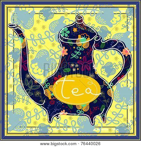 Floral designed tea pot . Tea time illustration
