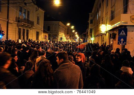 Crowd Of People During A Street Protest