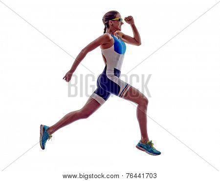 woman triathlon ironman athlete runner running  on white background poster
