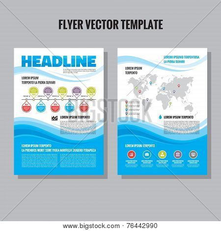 Abstract flyer vector template. Brochure vector template. Abstract blue waves composition. Time line