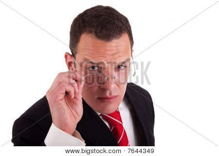 Man Putting On The Glasses, Isolated On White Background, Studio Shot.