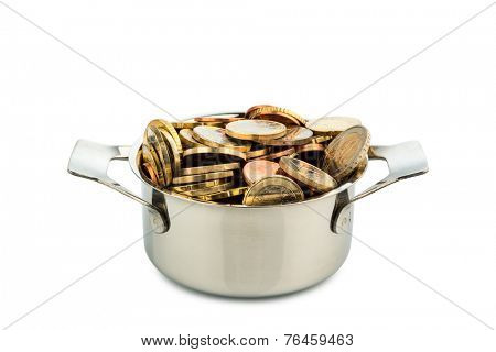 a cooking pot is filled with euro coins, symbolic photo for government grants and subsidies