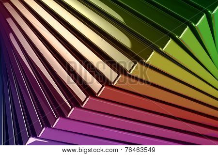 Background Of Stacked Metallic Reflective Rainbow Colored Squares