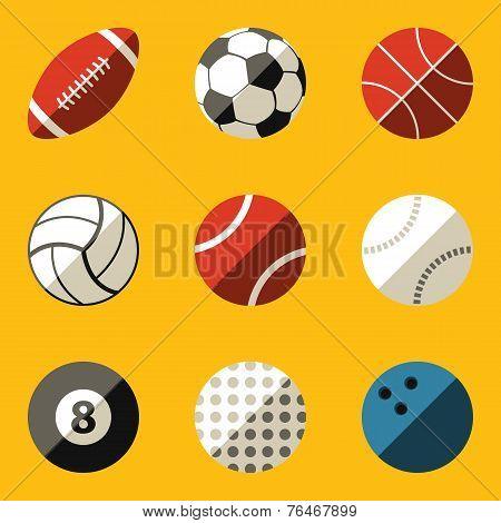 Flat icon set. Sport ball