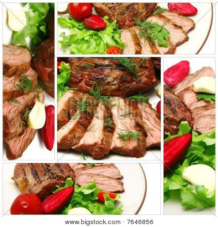 Roast Meat Served With Vegetables