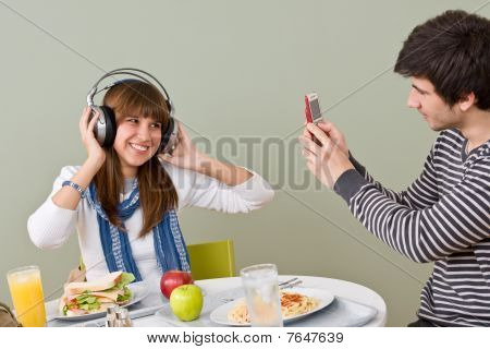 Student Cafeteria - Teenagers Having Lunch Break
