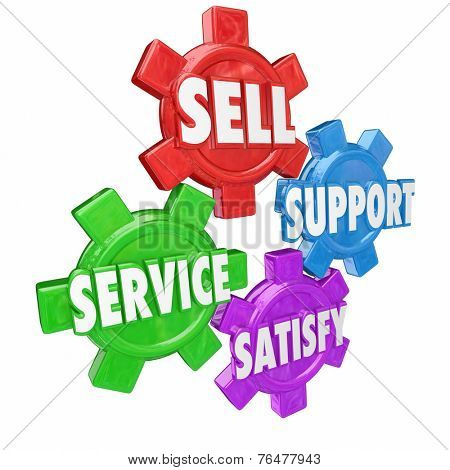 Sell, support, service and satisfy in 3d letters on four gears to illustrate core customer assistance or help and attention principles