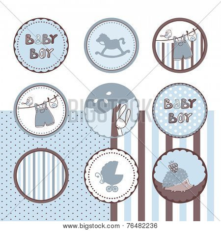 baby boy theme circle labels