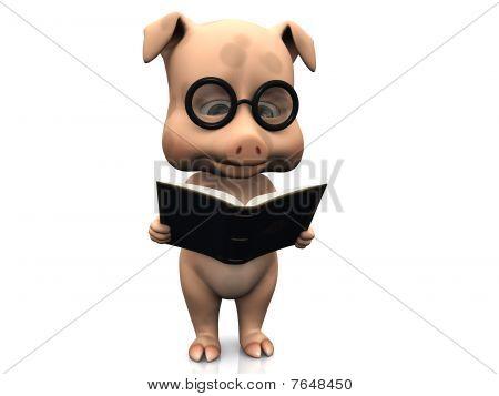 Cute Cartoon Pig Holding A Book.