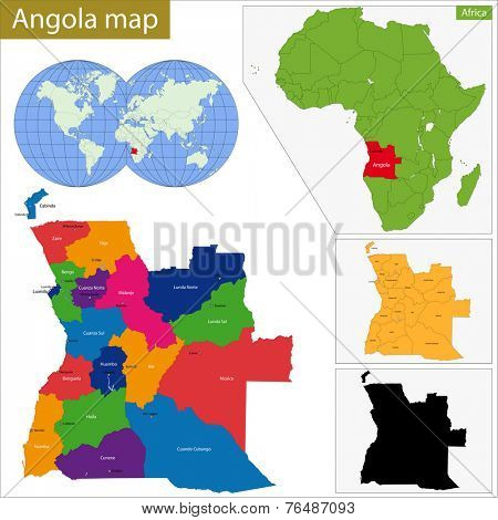 Angola map with high detail and accuracy and it is divided into provinces which are colored with different bright colors
