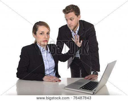 young attractive businesswoman suffering sexual harassment and abuse of colleague or office boss touching her at work with excessive familiarity in work relationship concept poster