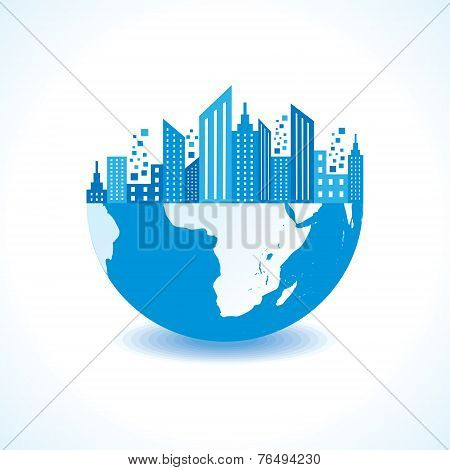 Blue cityscape on half earth