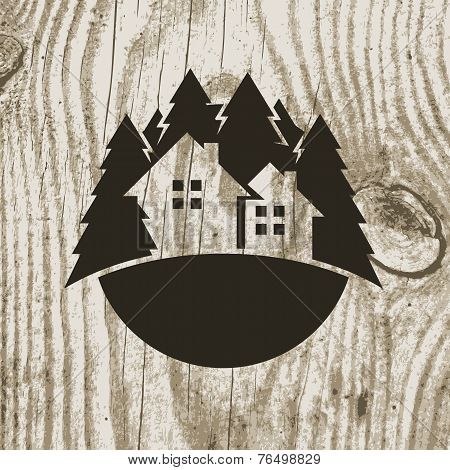 Vintage Styled Eco House Badge With Tree On Wooden Texture Background. Vector Logo Design Template
