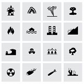 Vector disaster icon set on grey background poster
