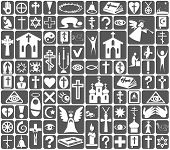 Image of white icons on gray background on the topic Religion poster