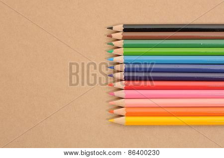 A row of coloured pencil