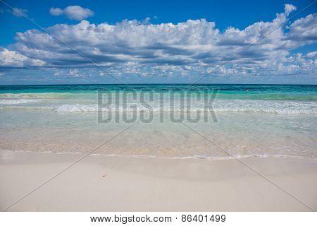 Swimming Tulum Beach, Caribbean Paradise, At Quintana Roo, Mexico.