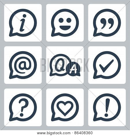 Symbols In Speech Bubbles Vector Icon Set
