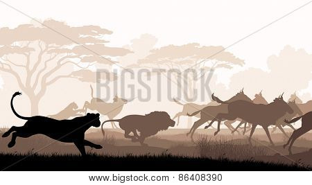 EPS8 editable vector cutout illustration of lions chasing a herd of wildebeest with all figures as separate objects