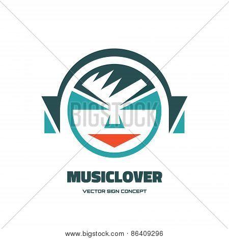 Music lover - vector logo concept illustration. Audio logo. Human character logo.