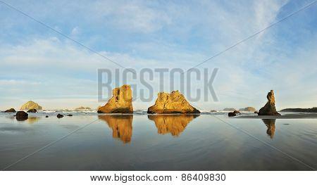 Sea Stacks On Bandon Beach At Sunrise, Oregon Coast