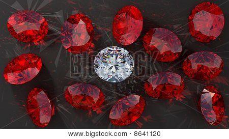 Crystal Diamond Among Red Rubies