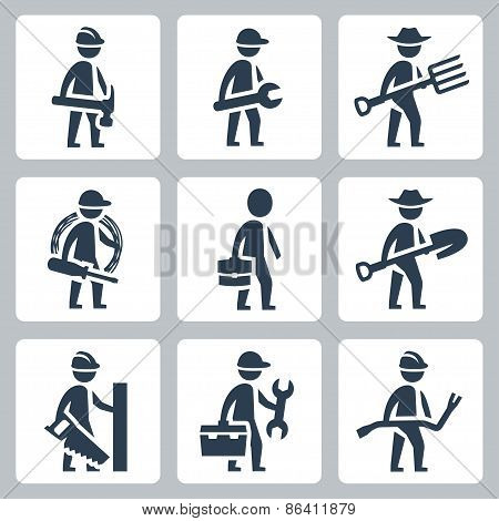 Workers Vector Icon Set