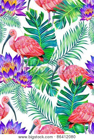 seamless paradise birds and flowers pattern