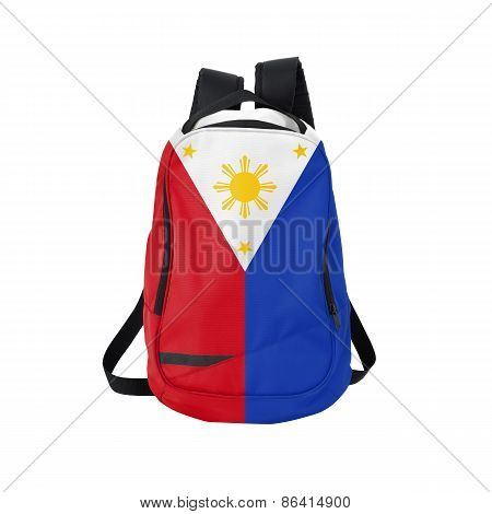 Philippines flag backpack isolated on white background. Back to school concept. Education and study abroad. Travel and tourism in Philippines poster