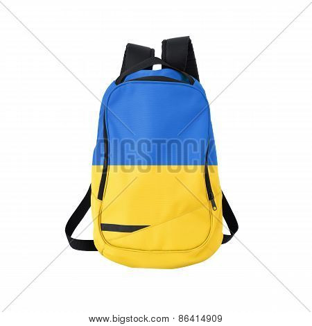 Ukraine flag backpack isolated on white background. Back to school concept. Education and study abroad. Travel and tourism in Ukraine poster