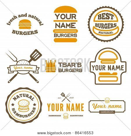 Set of logo, labels, stickers and logotype elements for fast food restaurant, cafe, hamburger and bu
