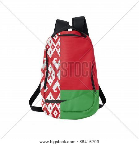 Belorussia flag backpack isolated on white background. Back to school concept. Education and study abroad. Travel and tourism in Belarus poster