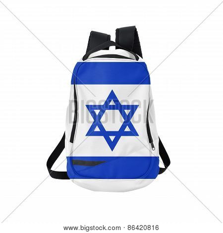 Israel flag backpack isolated on white background. Back to school concept. Education and study abroad. Travel and tourism in Israel poster